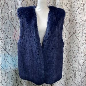 Royal blue faux fur vest chuncky